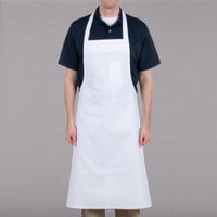 Chef Revival White Cotton Customizable Bib Apron with Pen Pocket - 36 inchL x 40 inchW