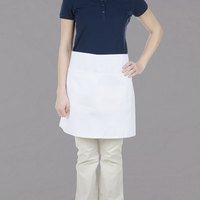 Chef Revival White Poly-Cotton Customizable Bistro Apron with 2 Pockets - 19 inchL x 28 inchW