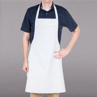 Chef Revival White Poly-Cotton Customizable Bib Apron with Pencil Pocket- 34 inchL x 34 inchW