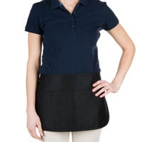 Chef Revival Black Poly-Cotton Customizable Reversible Waist Apron with 3 Pockets - 12 inchL x 24 inchW