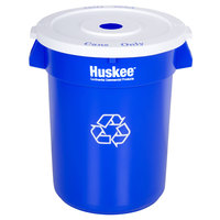 Continental 32 Gallon Blue Round Recycling Trash Can and Lid Set