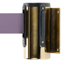 Aarco WM-7B Brass Wall-Mount Stanchion with 7' Purple Retractable Belt
