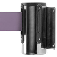 Aarco WM-10C Chrome Wall-Mount Stanchion with 10' Purple Retractable Belt