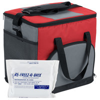 Choice Insulated Leak Proof Cooler Bag / Soft Cooler, Red Nylon 12 inch x 9 inch x 11 1/2 inch, with Foam Freeze Pack Kit