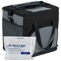 Choice Insulated Leak Proof Cooler Bag / Soft Cooler, Black Nylon 12 inch x 9 inch x 11 1/2 inch, with Foam Freeze Pack Kit