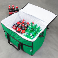 Choice Insulated Leak Proof Cooler Bag / Soft Cooler, Green Nylon 22 inch x 13 inch x 14 inch, with Foam Freeze Pack