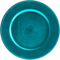 The Jay Companies 1270171 13 inch Round Aqua Beaded Plastic Charger Plate