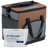 Choice Insulated Leak Proof Cooler Bag / Soft Cooler, Brown Nylon 12 inch x 9 inch x 11 1/2 inch, with Foam Freeze Pack Kit