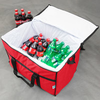 Choice Insulated Leak Proof Cooler Bag / Soft Cooler, Red Nylon 22 inch x 13 inch x 14 inch, with Foam Freeze Pack