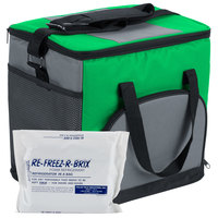 Choice Insulated Leak Proof Cooler Bag / Soft Cooler, Green Nylon 12 inch x 9 inch x 11 1/2 inch, with Foam Freeze Pack Kit