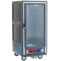 Metro C537-CLFC-4 C5 3 Series Insulated Low Wattage 3/4 Size Heated Holding and Proofing Cabinet with Fixed Wire Slides and Clear Door - Gray