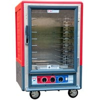 Metro C535-CLFC-U C5 3 Series Insulated Low Wattage Half Size Heated Holding and Proofing Cabinet with Universal Wire Slides and Clear Door - Red