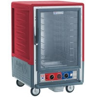 Metro C535-CLFC-4 C5 3 Series Insulated Low Wattage Half Size Heated Holding and Proofing Cabinet with Fixed Wire Slides and Clear Door - Red