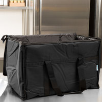 Choice Insulated Food Delivery Bag / Soft Sided Pan Carrier with Foam Freeze Pack Kit, Black Nylon, 23 inch x 13 inch x 15 inch