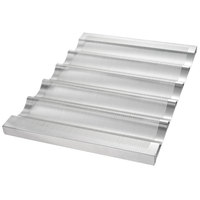 Chicago Metallic 45505 5 Loaf Glazed Welded Aluminum Baguette / French Bread Pan - 25 3/4 inch x 3 inch x 1 inch Compartments