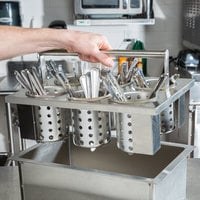 Steril-Sil E1-BS6OE-SS Stainless Steel 6-Cylinder Drop-In Flatware Basket with Stainless Steel Cylinders