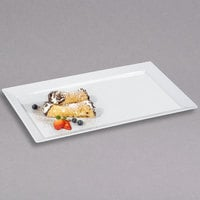 GET ML-116-W Bake and Brew 18 inch x 11 inch White Rectangular Wide Rim Display Tray