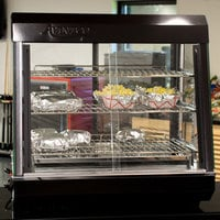 Avantco HDC-26 26 inch Self Service 3 Shelf Countertop Heated Display Case with Sliding Doors - 110V, 1500W