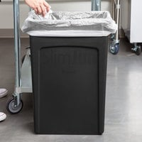 Rubbermaid FG354060BLA 92 Qt. / 23 Gallon Slim Jim Black Rectangular Trash Can