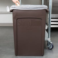 Rubbermaid 1956187 92 Qt. / 23 Gallon Slim Jim Brown Rectangular Trash Can
