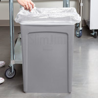 Rubbermaid FG354060GRAY 92 Qt. / 23 Gallon Slim Jim Gray Rectangular Trash Can