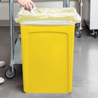 Rubbermaid 1956188 92 Qt. / 23 Gallon Slim Jim Yellow Rectangular Trash Can