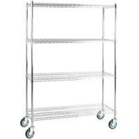 Regency 18 inch x 48 inch NSF Chrome 4-Shelf Kit with 64 inch Posts and Casters