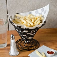 Choice 7 inch x 6 1/2 inch Black Check Wire Cone Basket Liner / Deli Wrap / Double Open Bag - 500/Case
