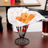 Choice 9 inch x 10 inch Red Check Wire Cone Basket Liner / Deli Wrap / Double Open Bag - 1000/Case