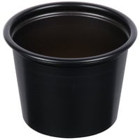 Solo P100BLK Black 1 oz. Plastic Souffle / Portion Container   - 2500/Case