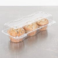 Polar Pak 2341 3 Compartment Clear Jumbo Muffin Takeout Container   - 10/Pack