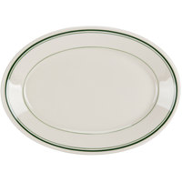 Homer Laughlin by Steelite International HL1531 Green Band Rolled Edge 9 1/2 inch Oval Platter - 24/Case