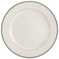 Homer Laughlin by Steelite International HL2081 Green Band Rolled Edge 11 1/8 inch Plate - 12/Case