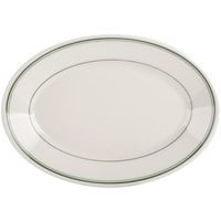 Homer Laughlin by Steelite International HL1551 Green Band Rolled Edge 11 3/4 inch Oval Platter - 12/Case