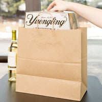 Duro Jr. Mart Natural Kraft Paper Shopping Bag with Handles 13 inch x 7 inch x 13 inch - 250/Bundle