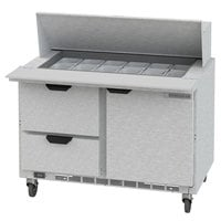 Beverage-Air SPED48HC-18M-2 48 inch 1 Door 2 Drawer Mega Top Refrigerated Sandwich Prep Table