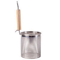 5 1/2 inch x 6 inch Stainless Steel Strainer/Blanching Basket with Wooden Handle