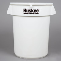 Continental 3200WH Huskee 32 Gallon White Round Trash Can