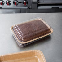 Solut 8 1/2 inch x 6 inch Bake and Show Oven Safe Corrugated Paperboard Entree / Brownie Pan with Lid - 10/Pack
