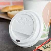 Solo TLP316-0007 Traveler White Dome Hot Cup Lid with Sip Hole - 1000/Case