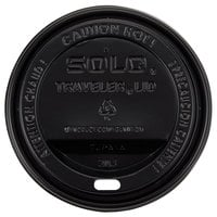 Solo TLB316-0004 Traveler Black Dome Hot Cup Lid with Sip Hole - 1000/Case