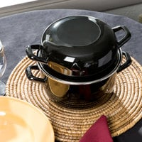 Matfer Bourgeat 070973 2.5 Qt. Black Enameled Steel Mussel Pot with Lid