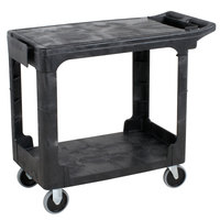 Rubbermaid FG450589BLA Black Small Flat HD Two Shelf Heavy Duty Utility Cart with Extended Handle
