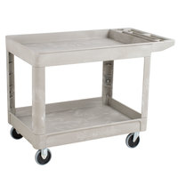 Rubbermaid FG452089BEIG Beige Medium Lipped Two Shelf Utility Cart with Extended Handle