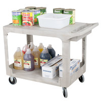 Rubbermaid FG452589BEIG Beige Medium Flat HD Two Shelf Heavy Duty Utility Cart with Extended Handle
