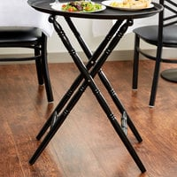 Lancaster Table & Seating Black 18 1/2 inch x 13 1/2 inch x 32 inch Folding Turned Leg Tray Stand Chic Wood
