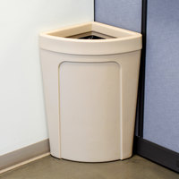 Continental 8324BE Corner Round 21 Gallon Beige Corner Trash Can - Rim Type