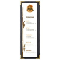 Menu Solutions RS33BD BK GLD Royal 4 1/4 inch x 14 inch Single Panel / Two View Black Menu Board with Gold Corners