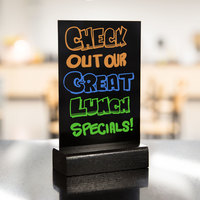 Menu Solutions WBWE-B 5 inch x 7 inch Black Wet Erase Table Sign Board with Solid Wood Base