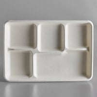EcoChoice 8 1/2 inch x 12 inch Biodegradable, Compostable Sugarcane / Bagasse 5 Compartment Long Tray   - 75/Pack